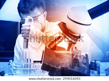 scientist  dropping chemical liquid to flask with lab glassware and microscope, Laboratory research concept ;double exposure style - stock photo