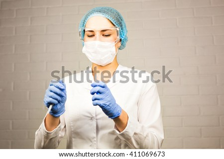 Scientist hand holding a Test tubes,Laboratory research. - stock photo