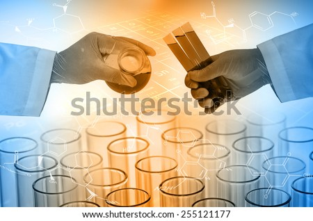 Scientist hand holding test tubes , Laboratory research concept  - stock photo