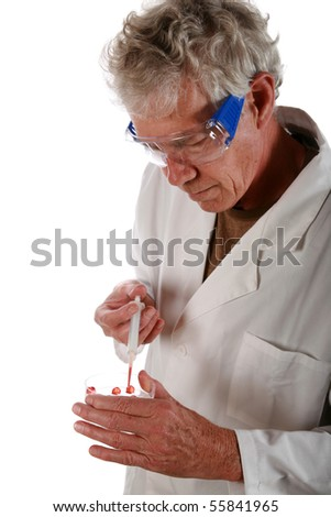 scientist implants his own DNA into live cells to see if he can recreate life    isolated on white - stock photo