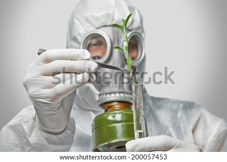 Scientist in protective uniform and respirator puts green plant in flask with tweezers - stock photo