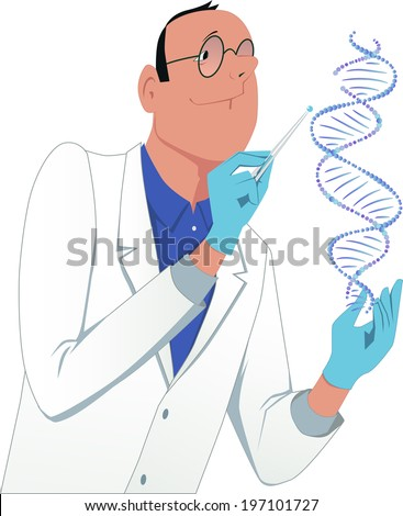 Scientist modifying a DNA molecule. Man in a white lab coat manipulating a DNA molecule - stock photo