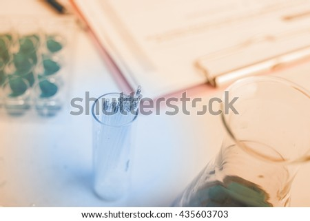 scientist with equipment,science research,science background, close up research - stock photo