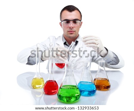 Scientist  working at lab - stock photo