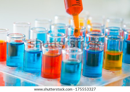 scientist working at the laboratory - stock photo