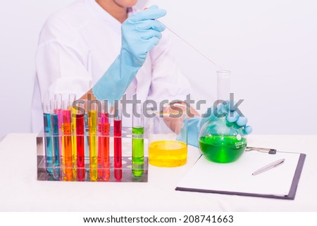 scientist working at the laboratory. Screen image of molecule made by myself  - stock photo