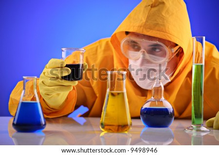 Scientist working in a laboratory - stock photo