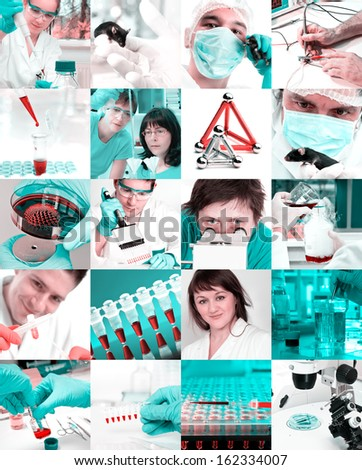 Scientists working in the lab, collage  - stock photo