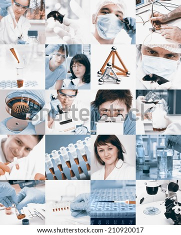 Scientists working in the lab, collage, toned images - stock photo