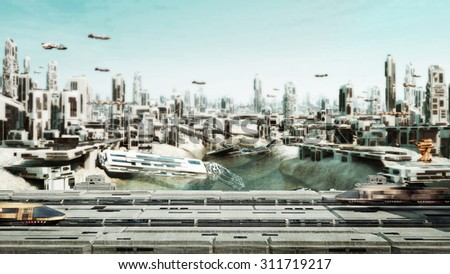 Scifi Cityscape transport airship and Train from the future - stock photo