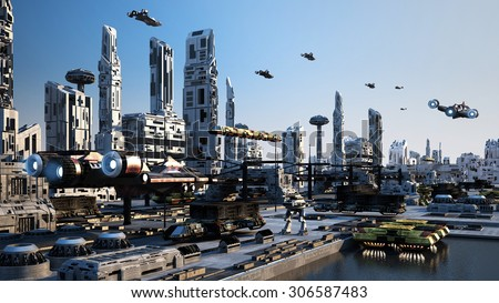 Scifi Cityscape transport airship from the future - stock photo