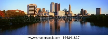 Scioto River and Columbus skyline in Ohio - stock photo