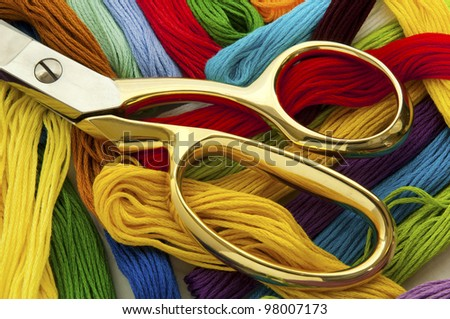 Scissors and Colorful Thread - stock photo
