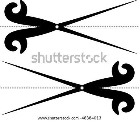 scissors cut lines - stock photo