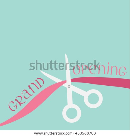 Scissors cut the ribbon. Grand opening celebration. Business beginnings event. Launch startup concept. Flat design style. - stock photo