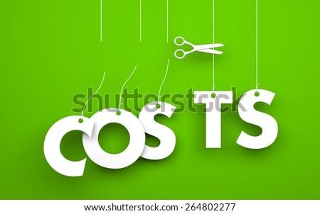 Scissors cuts word COSTS - stock photo
