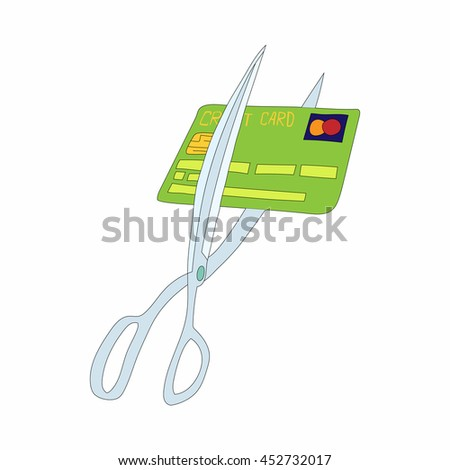 Scissors cutting credit card icon in cartoon style on a white background - stock photo