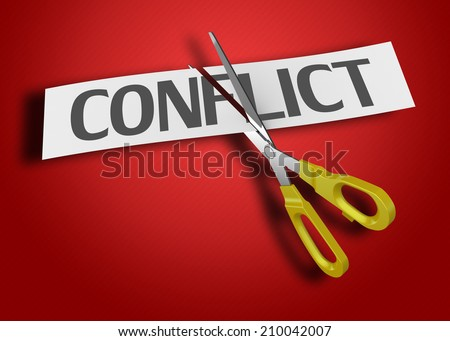 Scissors cutting paper with text conflict - stock photo