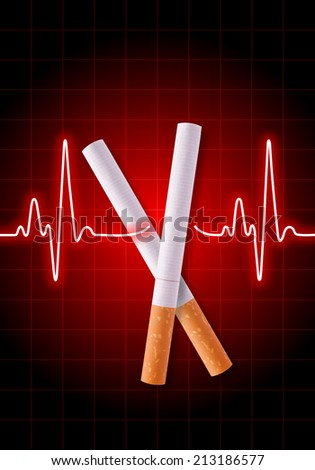 Scissors made of cigarettes on red heart rate monitor cutting the heartbeat line - Anti Smoking campaign - Health hazard - stock photo