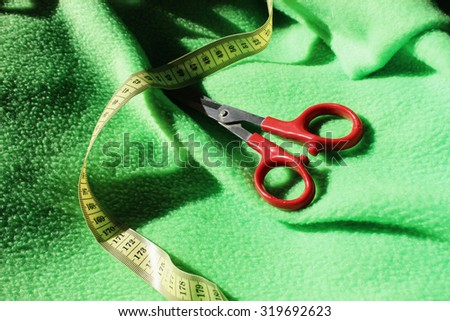 Scissors or Sewing, Tape measure background, Yellow tape measure, Sewing tools, Handmade decoration, Red scissors, Hardworking, Needlework, Seamstress background, Fashioner, Sewing, Tape measure, Cut - stock photo