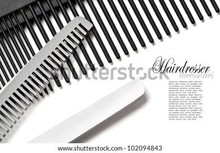 Scissors, Thinning shear on white background - stock photo