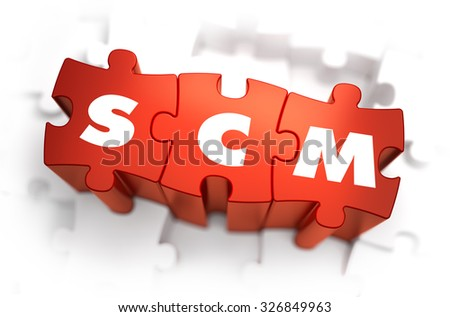 SCM - Supply Chain Management - Text on Red Puzzles with White Background. 3D Render.  - stock photo