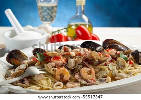 scoglio spaghetti traditional italian seafood recipe - stock photo