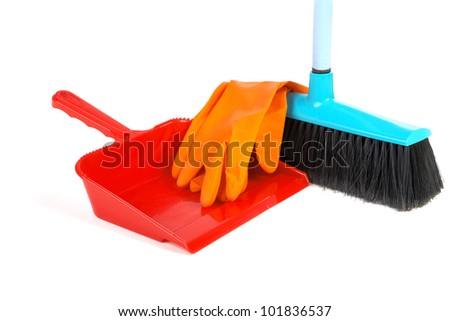 Scoop for dust rubber gloves and  brush on a white background - stock photo