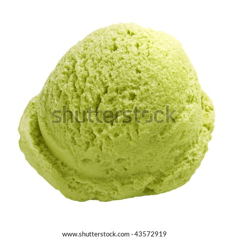 Scoop of green tea ice cream isolated on white bacground including clipping path - stock photo