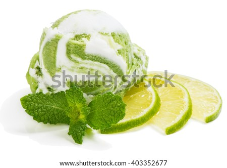 Scoop of lime-vanilla ice cream decorated with mint isolated on white background - stock photo