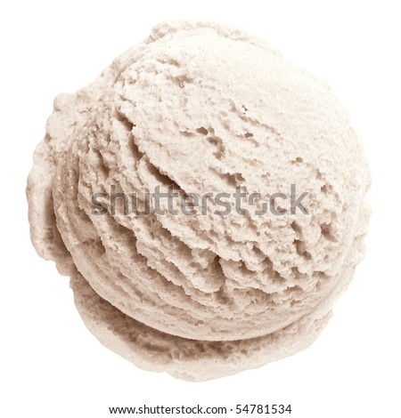 Scoop of vanilla ice cream from top on white background with clipping path - stock photo