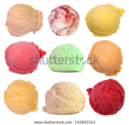 Scoops of ice cream isolated on white background - stock photo