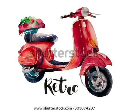 Scooter. Vintage design for metal sign, baner, ad. Classic Garage effects. Illustration for T-shirt, banner, sign for retro bar and so on. - stock photo