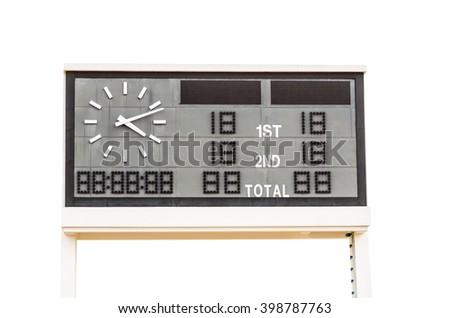 Scoreboard isolated on the white background. - stock photo