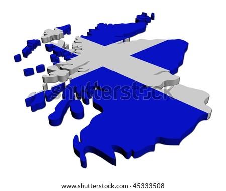 Scotland map flag 3d render on white illustration - stock photo