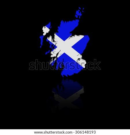 Scotland map flag with reflection illustration - stock photo