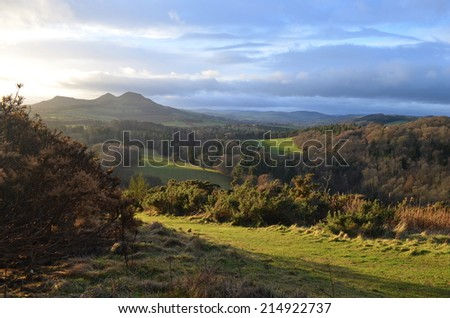 Scott's view: valley with rolling grassland in the Scottish Borders of the UK - stock photo