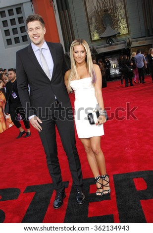 """Scott Speer and Ashley Tisdale at the Los Angeles premiere of """"Step Up Revolution"""" held at the Grauman's Chinese Theatre in Los Angeles, California, United States on July 17, 2012.   - stock photo"""