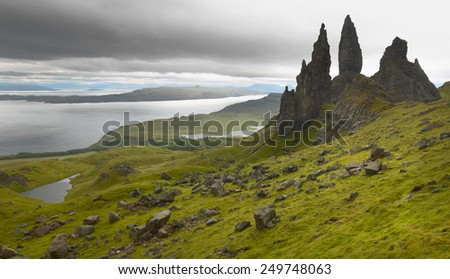Scottish basaltic landscape in Skye isle. Old man of Storr. Horizontal - stock photo