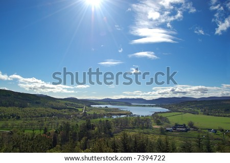 Scottish Country-side in the morning sun - stock photo