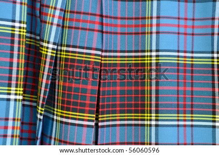 Scottish Kilt Background Close Up - stock photo
