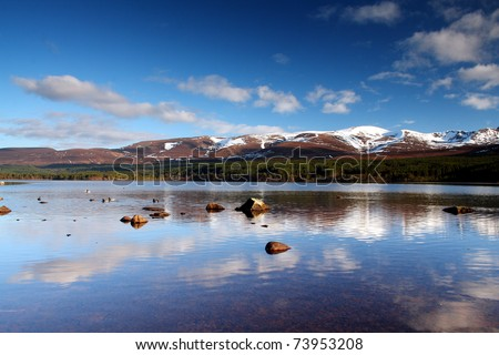 Scottish Loch - Loch Morlich, Cairngorm National Park, Scotland - stock photo