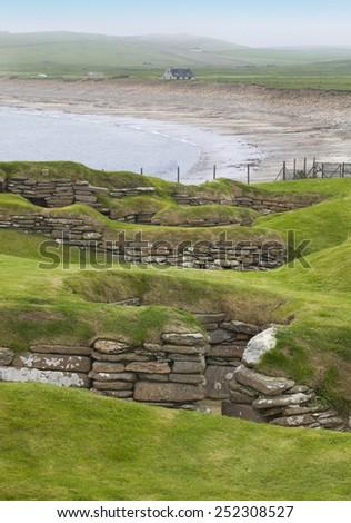 Scottish prehistoric site in Orkney. Skara Brae. Scotland. UK - stock photo