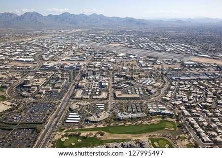 Scottsdale, Arizona Airport and surrounding shopping, restaurants and work places - stock photo