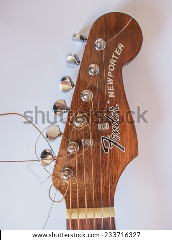 SCOTTSDALE, ARIZONA - CIRCA JULY 2014: Fender is one of the most appreciated brands for electric guitars and basses for blues and rock music - stock photo