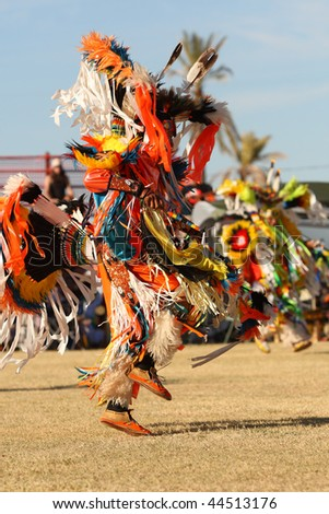 SCOTTSDALE, AZ - NOVEMBER 8: Dancers participate in the 23rd Annual Red Mountain Eagle Pow-wow presented by the Salt River Pima-Maricopa Indian Community on November 8, 2009 in Scottsdale, Arizona. - stock photo