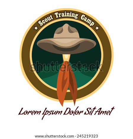 Scout camp colorful badge or logo. Drawn without meshes or gradients. Only free fonts used. - stock photo