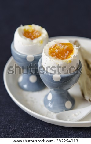 Scramble eggs with toast and butter for breakfast    - stock photo