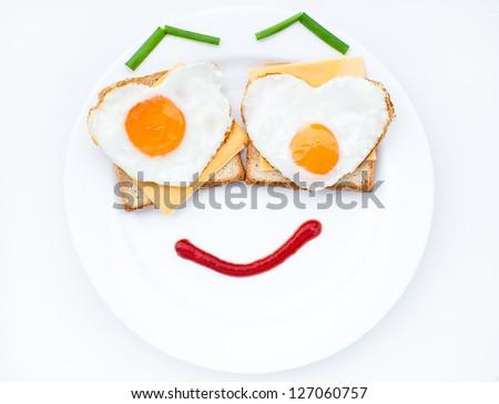Scrambled eggs great morning dish - stock photo