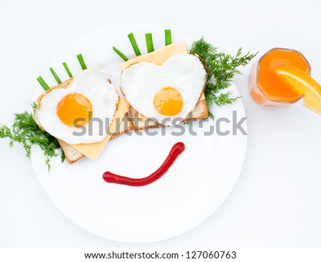Scrambled with cheese and orange juice - stock photo